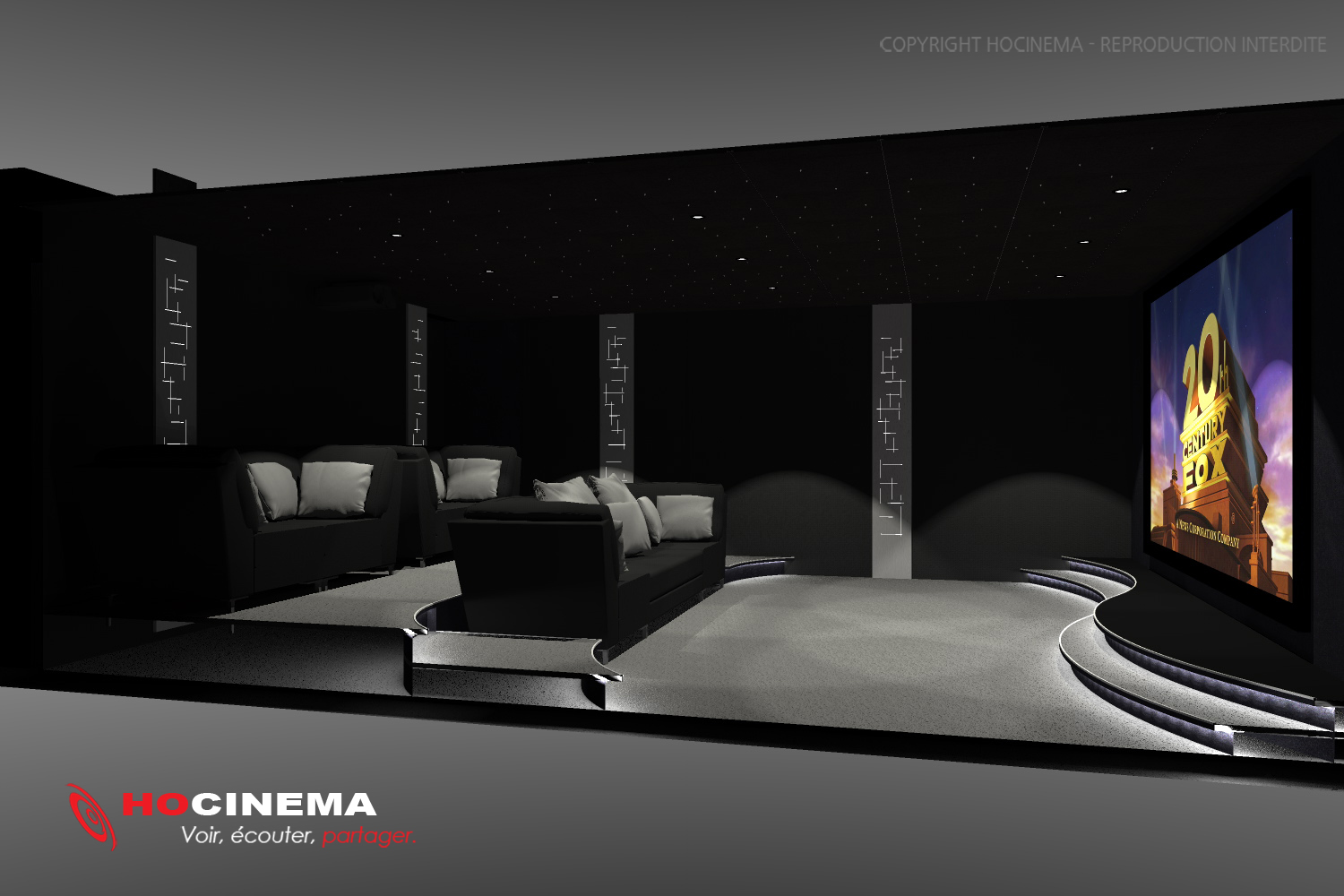 le concept 03c une salle de cin ma chez soi r alis e sur mesure. Black Bedroom Furniture Sets. Home Design Ideas