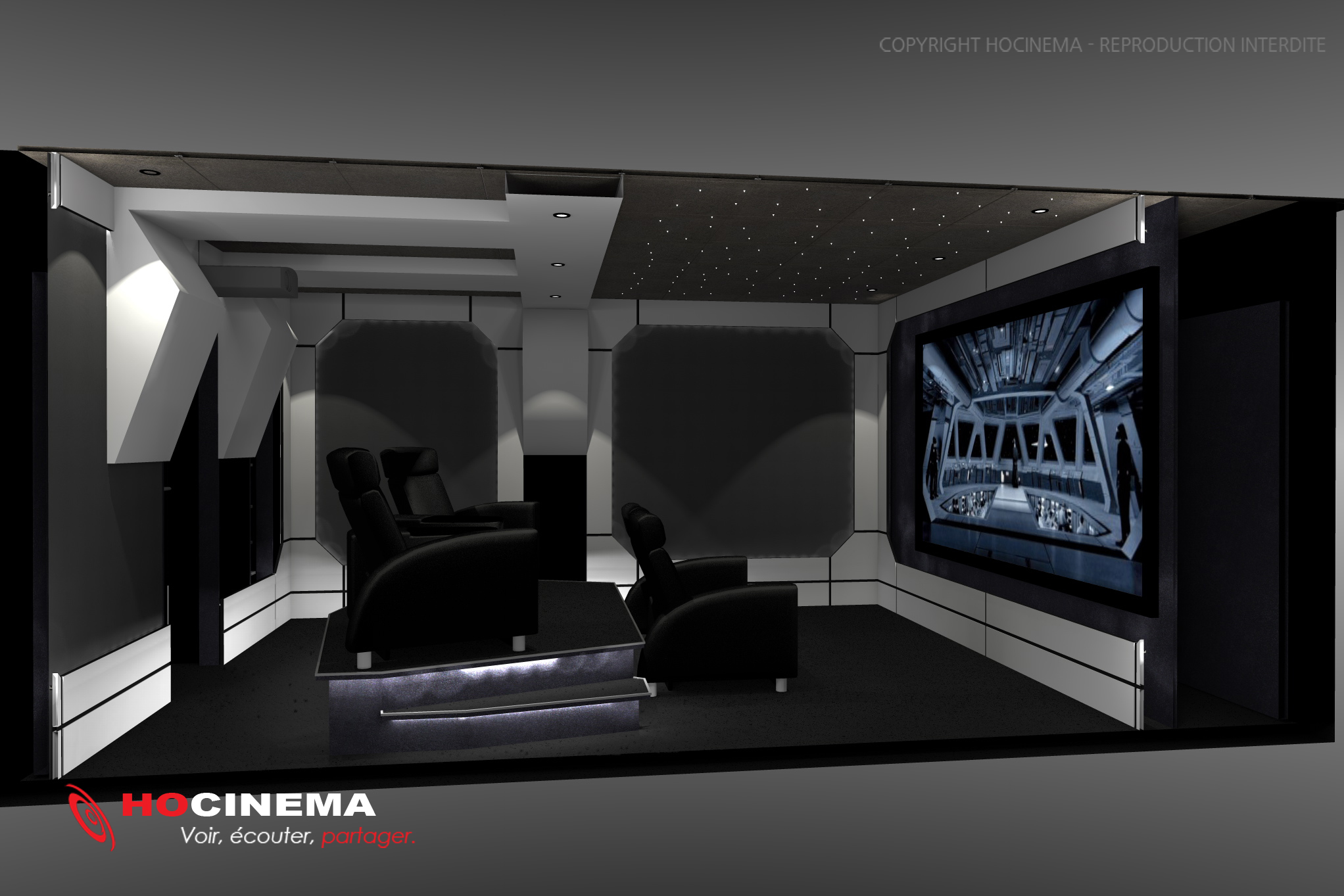 le concept 03g une salle de cin ma chez soi r alis e sur mesure. Black Bedroom Furniture Sets. Home Design Ideas
