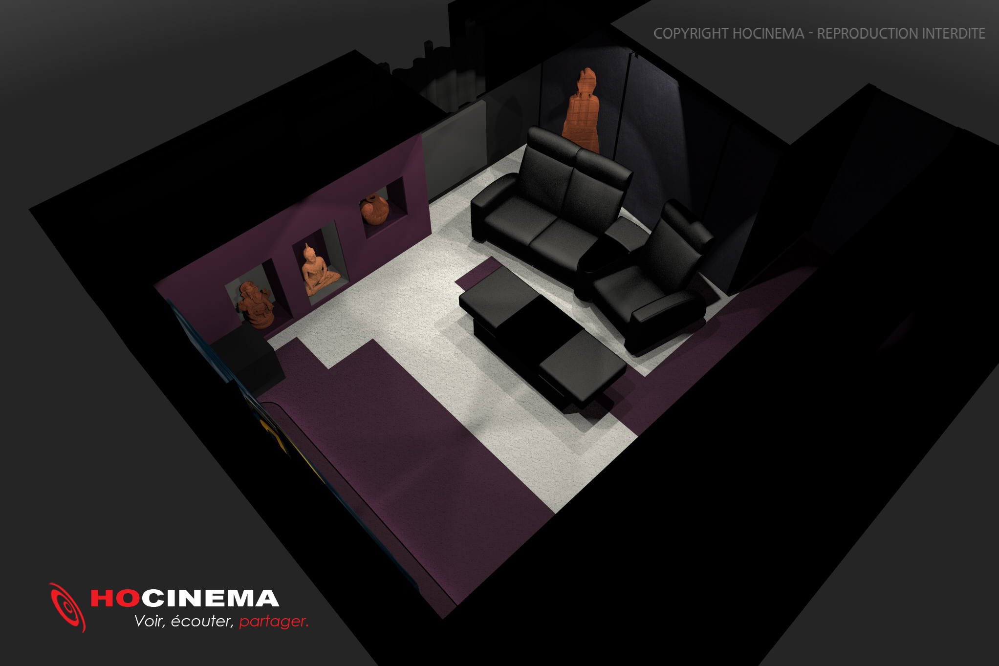 salle cinma maison salle cinema maison conceptd with. Black Bedroom Furniture Sets. Home Design Ideas